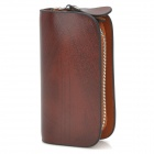 Cow Leather Zipper Car Key Holder Case Bag - Brown