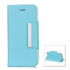 Lychee Pattern Protective Flip-Open PU Leather Case for Iphone 5 - Sky Blue