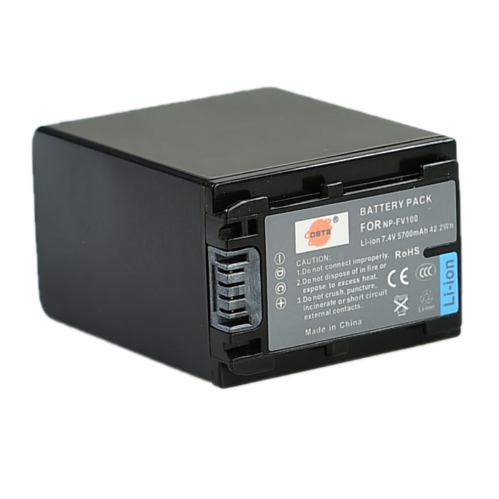 DSTE Replacement 7.4V 5700mAh Battery for Sony NP-FV100 / DCR-SR68E / XR260E / SX63E / SX43E - Black