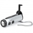 RD-300 Hand-Crank 5-LED White Light Dynamo Flashlight w/ FM / AM - Silver + Black