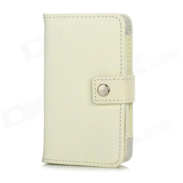 Protective Split Leather Case w/ Card Slots for Iphone 4 / 4S - White protective pu leather pc case w display window for iphone 4 4s white