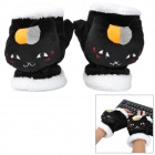 Super Cute Cat Style Warm Plush Gloves for Cold Weather - Black (Pair)