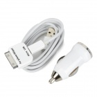 Car Charger + Micro USB Male to USB Male Cable + 30-Pin Adapter for iPhone 4 / 4S / Samsung i9300