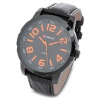 CURREN 8115 Fashion Man's PU Band Quartz Analog Waterproof Wrist Watch - Black + Orange (1 x 626)