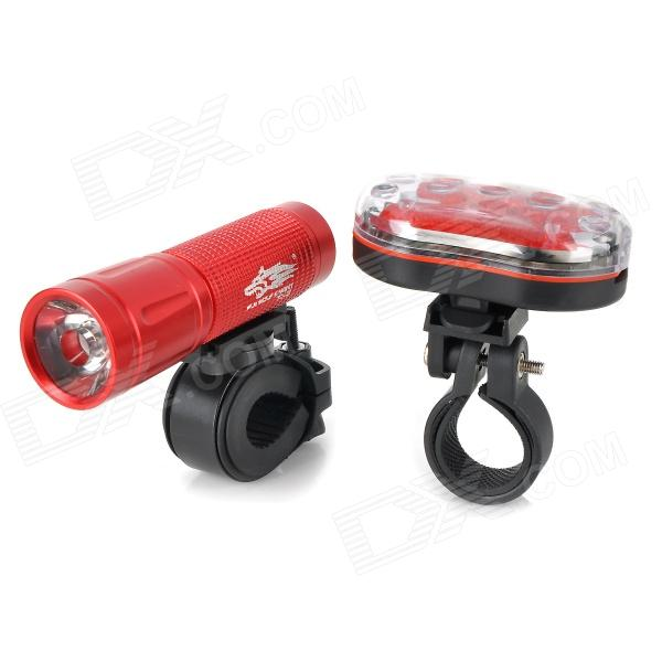 L22 White Light Bike Flashlight + Tail Safety Light - Red caoku hy ld208 5 led red light bike safety tail light red 2 x aaa