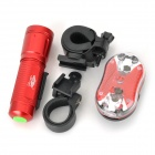 L22 Cree XP-E Q5 White Light Bike Flashlight + Tail Safety Light - Red