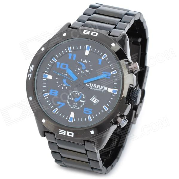 CURREN 8021 Fashion Man's PU Band Quarz Analog Wasserdichte Armbanduhr - Schwarz + Blau (1 x 626)