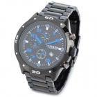 CURREN 8021 Fashion Man's PU Band Quartz Analog Waterproof Wrist Watch - Black + Blue (1 x 626)
