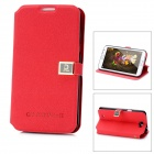 Ultra-Slim PU + Plastic Flip-Open Case w/ Stand / Card Slots for Samsung N7100 - Red