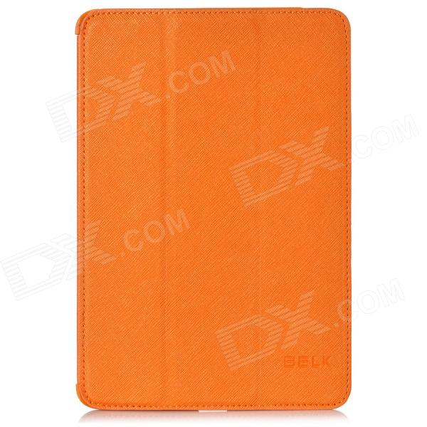 BELK Cross Pattern Protective 3-Fold PU Leather Case for Ipad MINI - Orange multi function pu leather case vent holes sound amplifier for ipad 3 4 orange