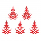 MP078 DIY Crystal Flower Reflective Car Decorative Stickers - Red (5 PCS)