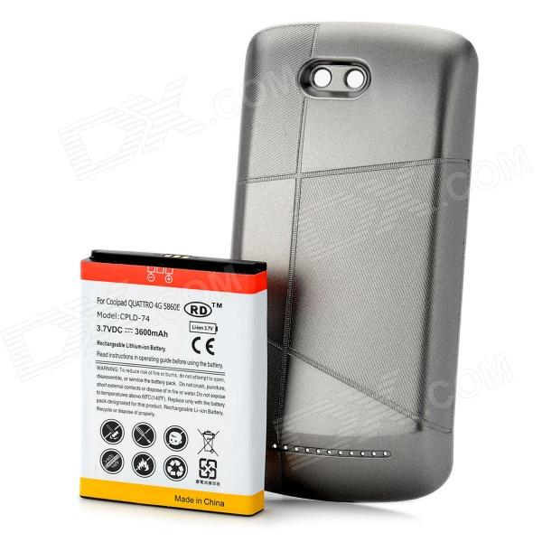 Replacement 3.7V 3600mAh Extended Battery Pack + Grey Back Case for Coolpad 5860E meike mk d750 battery grip pack for nikon d750 dslr camera replacement mb d16 as en el15 battery