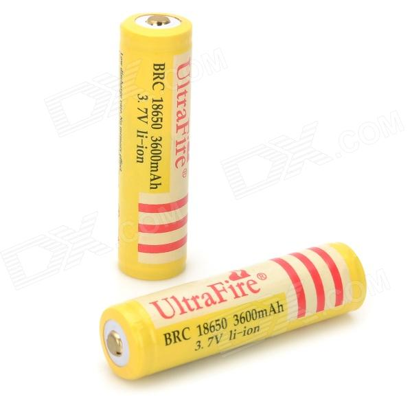 UltraFire BRC 18650 3.7V 3600mAh Rechargeable Li-ion Batteries - Yellow (Pair) насос taifu tvm60 1 10м