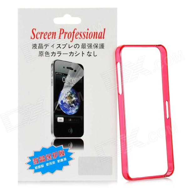 Protective Plastic Bumper Frame w/ Clear Screen Protector Film for Iphone 5 - Translucent Red