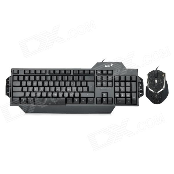 Genius G7 Gaming USB Wired LED Backlight 112-Key Keyboard + 800 / 1600 / 2000dpi Mouse Combo - Black genius g7 usb wired 112 key gaming keyboard 6d mouse combo