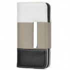 Wallet Style Protective PU Leather Case w/ Card Slots for Iphone 5 - White + Grey + Black
