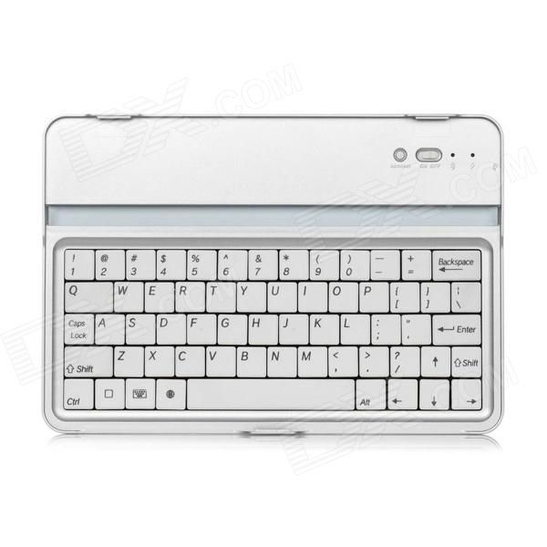 Aluminum Alloy Wireless Bluetooth V3.0 61-Key Keyboard for Ipad MINI - White + Silver qqv6 aluminum alloy 11 blade cooling fan for graphics card silver 12cm
