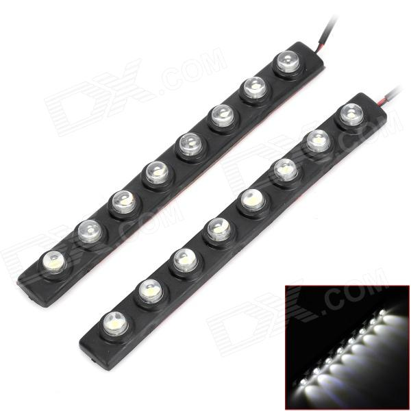 PointPurple DRL-08W Bending 1.6W 185lm 8-SMD 5050 LED White Car Lamps - Black (2 PCS)