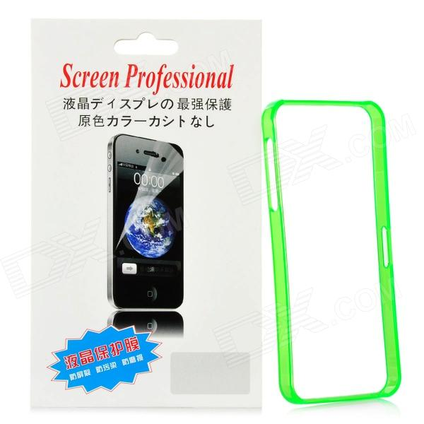 Protective Plastic Bumper Frame w/ Screen Protector Film Guard for Iphone 5 - Translucent Green