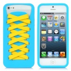 Play Hello Sporty Shoes Style Protective Silicone Case w/ Laces for iPhone 5 - Blue