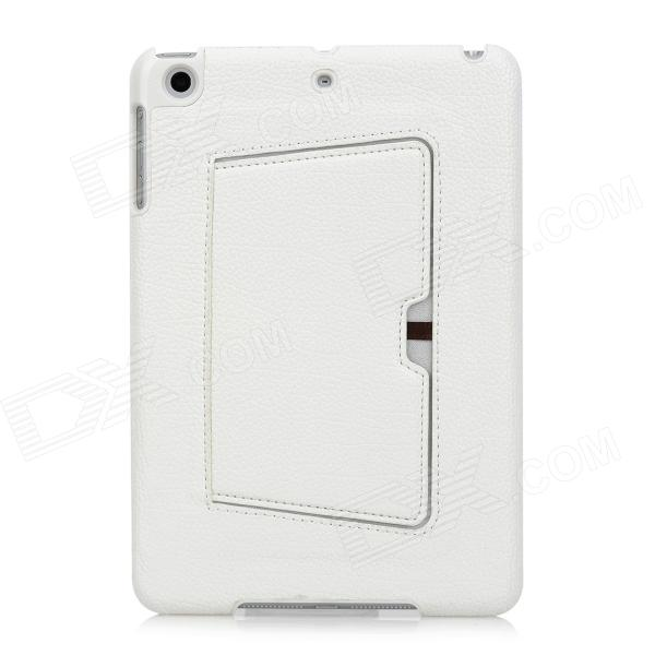 Lychee Pattern Protective PU Leather Case for iPad Mini - White