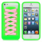 Play Hello Sporty Shoes Style Protective Silicone Case w/ Pink + White Laces for iPhone 5 - Green