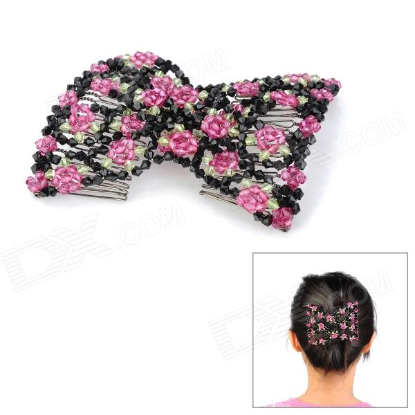 Rose Shape Rhinestone Elastic Hair Decoration Hairpin - Purple + Black