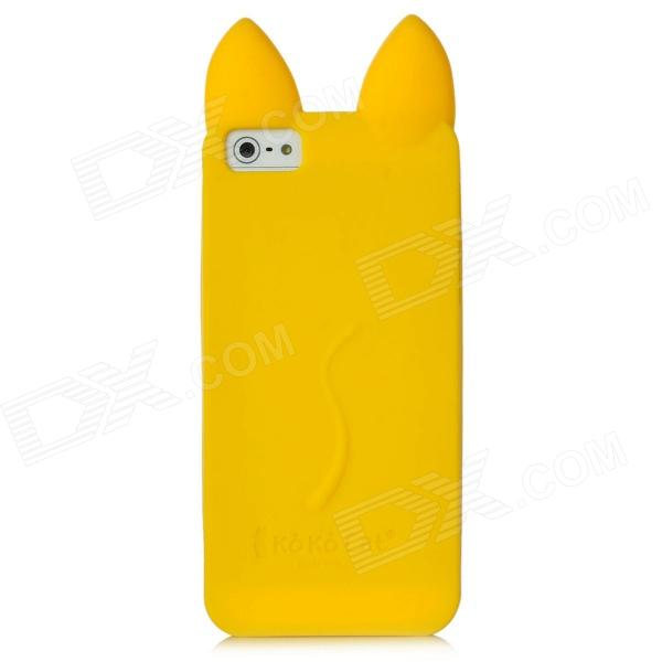 Cat Style Protective Silicone Back Case for Iphone 5 - Yellow cute marshmallow style silicone back case for iphone 5 5s yellow white