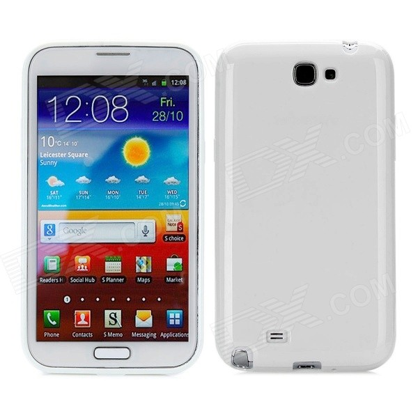 Protective Silicone Back Cover Case for Samsung N7100 - White protective silicone case for nds lite translucent white