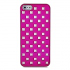 Rivets Studded Protective PC Back Case for iPhone 5 - Deep Pink