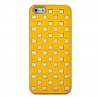 Rivets Studded Protective PC Back Case for Iphone 5 - Yellow
