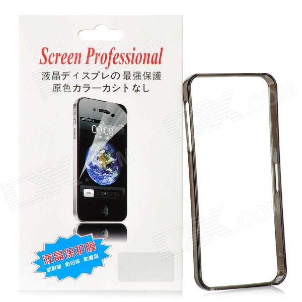 Protective Plastic Bumper Frame w/ Screen Protector Film Guard for Iphone 5 - Translucent Black