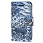 Tiger Pattern Protective PU Leather Flip-Open Case w/ Magnet for Iphone 5 - Blue