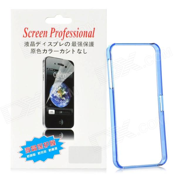 Protective Plastic Bumper Frame w/ Screen Protector Film Guard for Iphone 5 - Translucent Blue