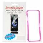Protective Plastic Bumper Frame w/ Screen Protector Film Guard for Iphone 5 - Translucent Deep Pink