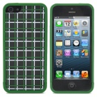 Grid Pattern Protective Detachable Plastic Case for iPhone 5 - Green + Black + White
