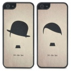 Lovers Protective Hat Style Shining Back Case for Iphone 5 - Black + Grey (2 PCS)