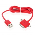 3-in-1 USB Data / Charging Cable w/ iPhone 30-Pin + Mini USB + Micro USB Port for Cell Phone - Red