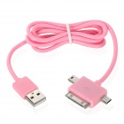 3-in-1 USB Data / Charging Cable w/ iPhone 30-Pin + Mini USB + Micro USB Port for Cell Phone - Pink