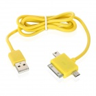 3-in-1 USB Data/Charging Cable w/ iPhone 30-Pin + Mini USB + Micro USB Port for Cell Phone - Yellow
