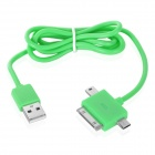 3-in-1 USB Data / Charging Cable w/ iPhone 30-Pin + Mini USB + Micro USB Port for Cell Phone - Green
