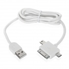 3-in-1 USB Data / Charging Cable w/ iPhone 30-Pin + Mini USB + Micro USB Port for Cell Phone - White