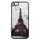 Iron Tower Pattern Shimmering Powder Style Protective Back Case for Iphone 5 - Black + White