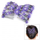 Stretchy Crystal Beads Double Hair EZ Combs Clips - Purple