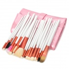 Professional 20-in-1 Cosmetic Makeup Brushes Set w/ PU Bag - White + Red