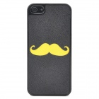 Cute Mustache Style Protective Plastic Back Case for iPhone 5 - Black + Yellow