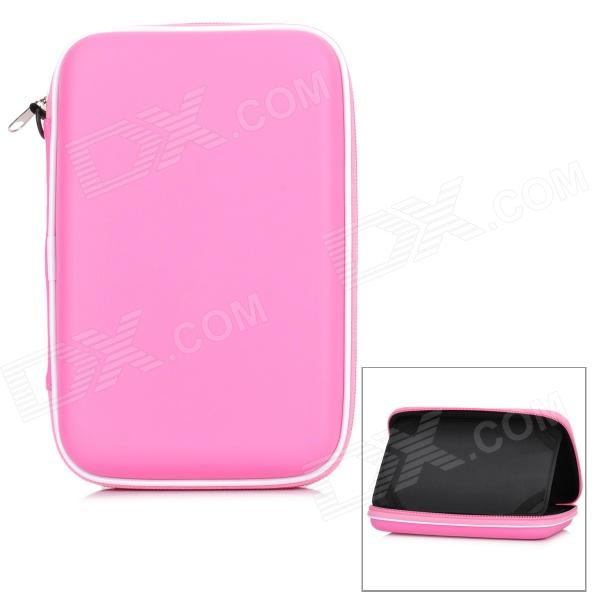 Protective PU Inner Pouch Case w/ Speaker + Holder for 7 Tablets - Pink + White soft neoprene protective pouch case for ipad 9 7 tablets black