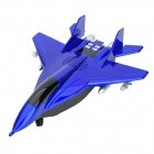 Carrey SD-J12 Fighter Model Style 0.8'' LCD 2-CH Media Player Speaker w/ TF / FM / USB - Blue