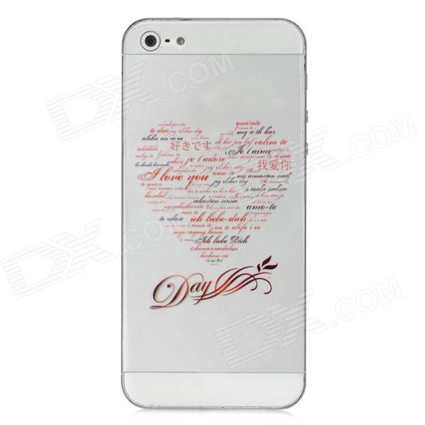 I Love You Love Heart Style Protective Front + Back Skin Sticker for Iphone 5 - Transparent + Red стоимость