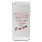I Love You Love Heart Style Protective Front + Back Skin Sticker for Iphone 5 - Transparent + Red